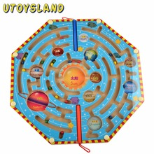 UTOYSLAND Magneter Puslespill Maze Kids Wooden Toy Nine Planets Magnetic Labyrinth Fun Games for Children Learning Education Toys