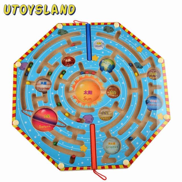 UTOYSLAND Magnets Puzzle Maze Kids Wooden Toy Nine Planets Magnetic Labyrinth Fun Games for Children Learning Education Toys