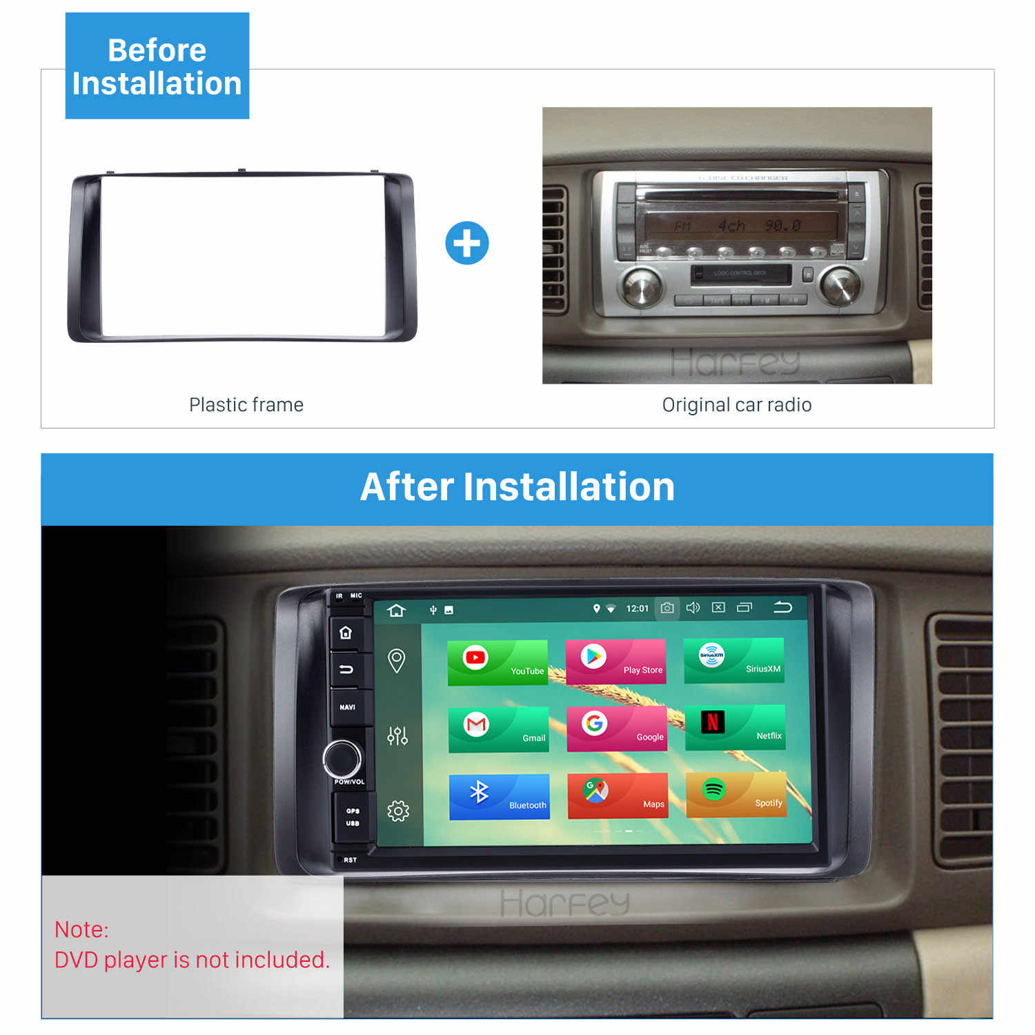 Harfey 178*100mm Car Radio Fascia Stereo Frame for 2003-2006 Toyota Corolla DVD Player Install Surround Trim Panel Kit Refit