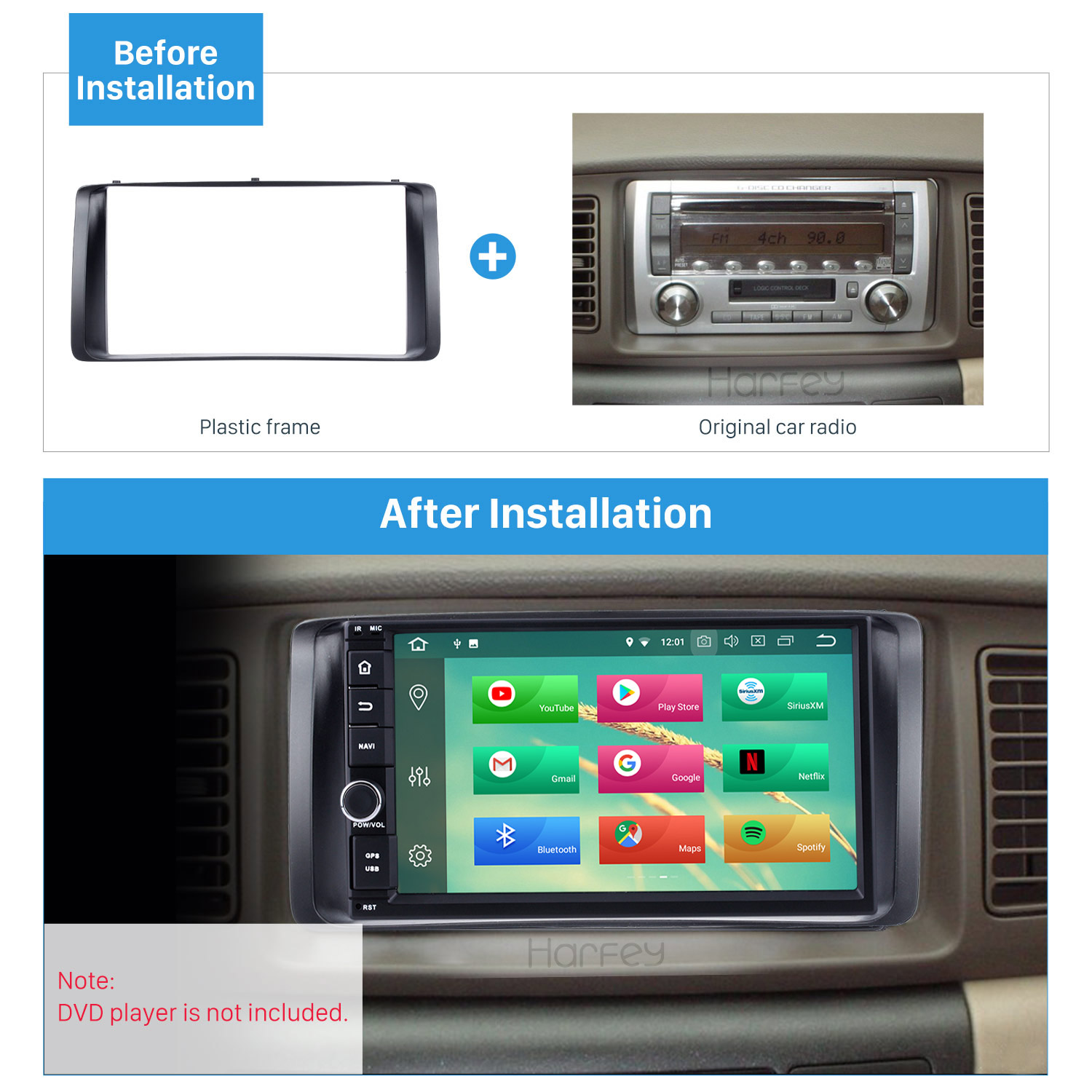 Harfey Panel Car <font><b>Radio</b></font> Fascia Dashboard Audio Frame For2003 2004 <font><b>2005</b></font> 2006 <font><b>Toyota</b></font> <font><b>Corolla</b></font> Stereo CD Trim Bezel Refitting Indash image
