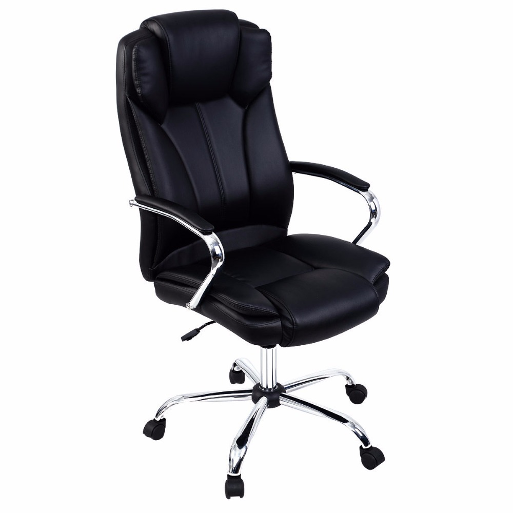 Goplus Ergonomic PU Leather High Back Executive Chairs Computer Desk Task Office Chair Modern Gaming Chairs HW51427 240340 high quality back pillow office chair 3d handrail function computer household ergonomic chair 360 degree rotating seat