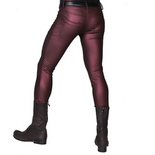 Leggings Pants Trousers Tight Skinny Elasticity Motorcycle Faux-Leather Punk Men's Fit