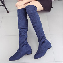 Women Spring Autumn Suede Slip-On Round Toe High Boots Over-The-Knee Shoes Long botines de mujer Black blue brown 35-40