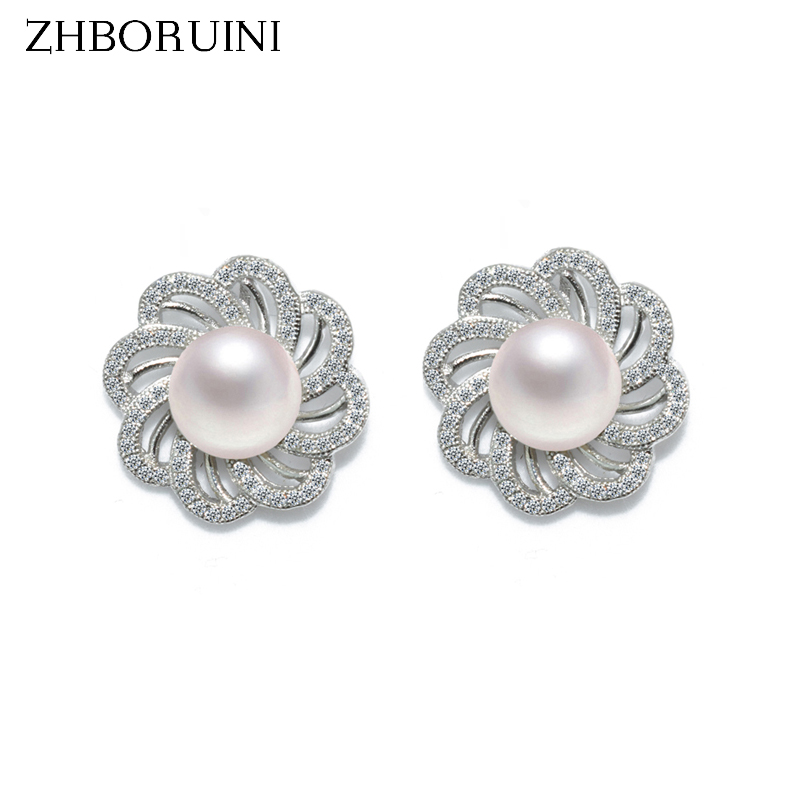 ZHBORUINI 2019 Pearl Earrings 925 Sterling Silver Jewelry For Women Natural Freshwater Pearl Jewelry Flower Stud Earrings Gift