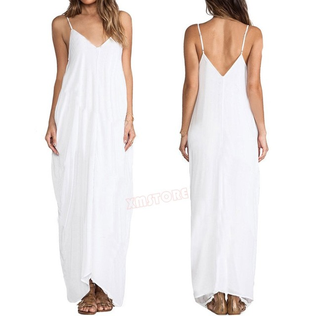 Sexy Ladies Women Casual Dresses Solid Low Back All In One Spaghetti Strap  Beach Dress Long Maxi Dress 7adf55fe5