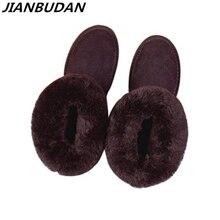 Botas de nieve de piel de vaca para mujer, zapatos cálidos de piel de felpa, informales, de algodón, 35 40, para invierno, 2020