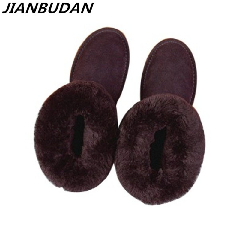 JIANBUDAN High quality cowhide snow boots 2017 new winter high shoes long warm size 35-40