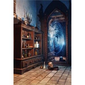Image 2 - Laeacco Magic Mirror Old Bottle Shelf Grunge Vintage Portrait Photography Backdrop Photo Background Baby Photophone Photo Studio