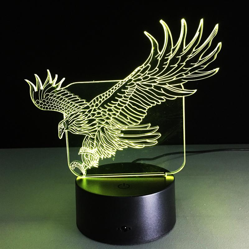 Eagle Shape LED 3D Night Light Colorful Vision Stereo LED Lamp Acrylic USB Bedroom Bedside Night Light Creative Desk Lamp