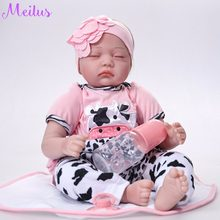 55cm Baby Dolls Silicone Reborn Baby Doll Girl Boy Shower Toys Early Education Dolls Kid's toys Birthday Gift Action Figure(China)