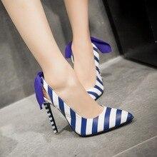 womens sexy stiletto super high heels shoes beige blue pointed toe 12.5cm thin heel new designer stripe ladies casade pumps M24