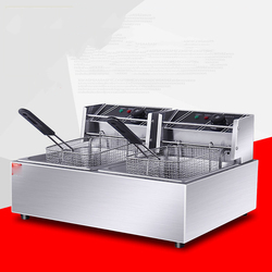 Commercial Electric Deep Fat Fryer Double Tank Frying Cooker Stainless Steel Chips Chicken Deep Fryer Frying Oven Frying Machine