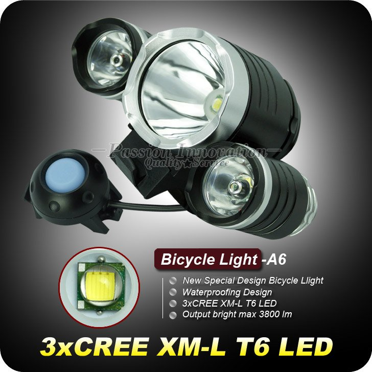 1set A6 Bike Light 3800 Lumens 3t6 Cree Xm L 3 X T6 Led Bike