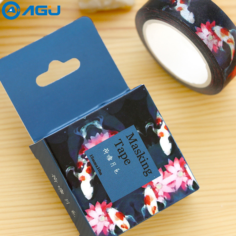 AAGU 1PC 15mm*10m Box Package Moon Light Perfuse On Lotus Pond Washi Tape Adhesive Decorative  Masking Tape DIY Paper Tape