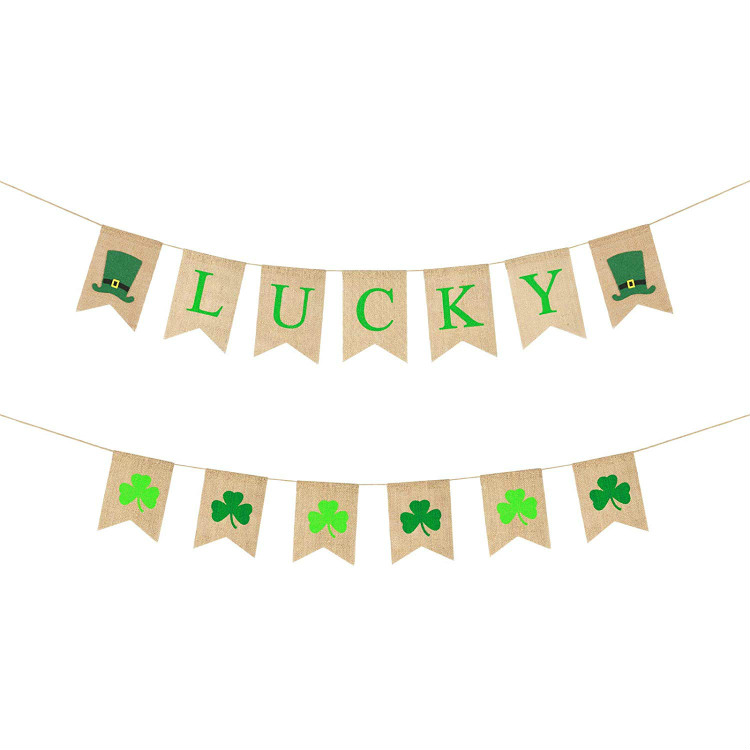 Lucky Banner Irish Four Leaf Clover Banner Shamrock Burlap Banner Garland St Patrick 39 s Day Decorations in Banners Streamers amp Confetti from Home amp Garden