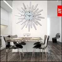 European Electronic Sitting Room Wall Clock Modern Creative Acrylic Mirror Mute Clocks 58*58cm