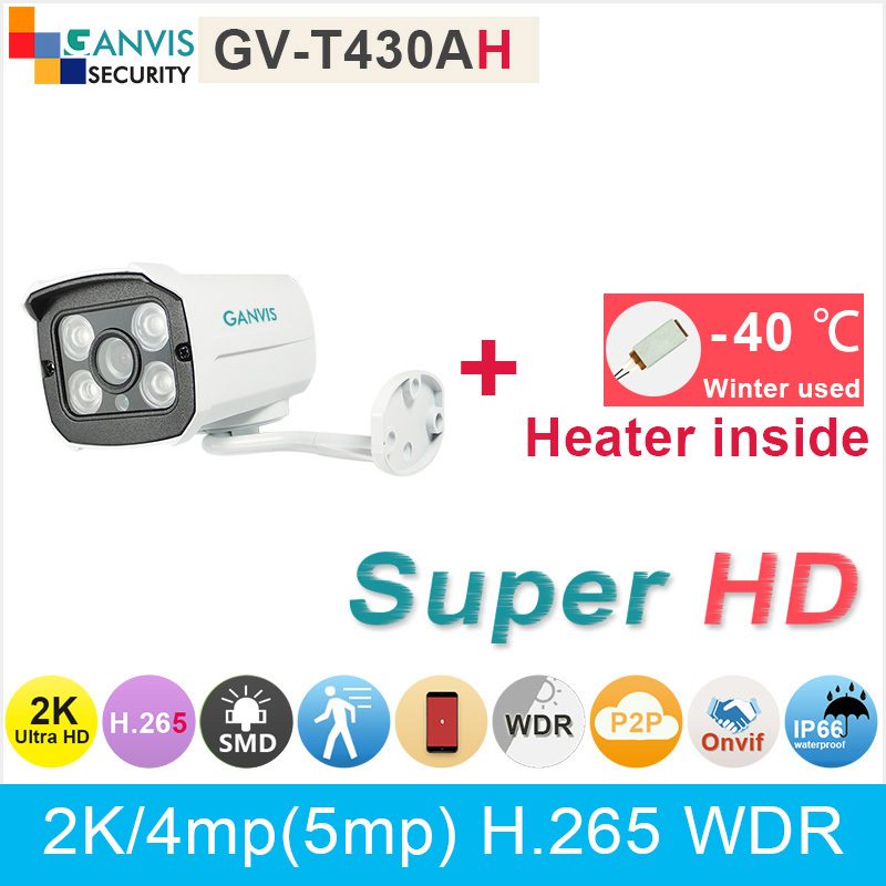 Built in heater ! 2K Ultra HD IP camera mini waterproof 4mp 5mp 1080P video surveillance security cctv cameras GANVIS GV-T430AH russian cctv security ip camera 5mp 1080p outdoor 2 8mm varifocal 4x manual zoom built in heater ip surveillance street camera