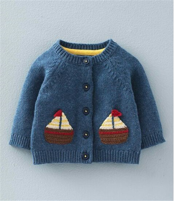 c4252fc64 New Boys Girls Baby Sweater Cartoon Sailing ship bunny cardigan sweater 3  Color wholesale
