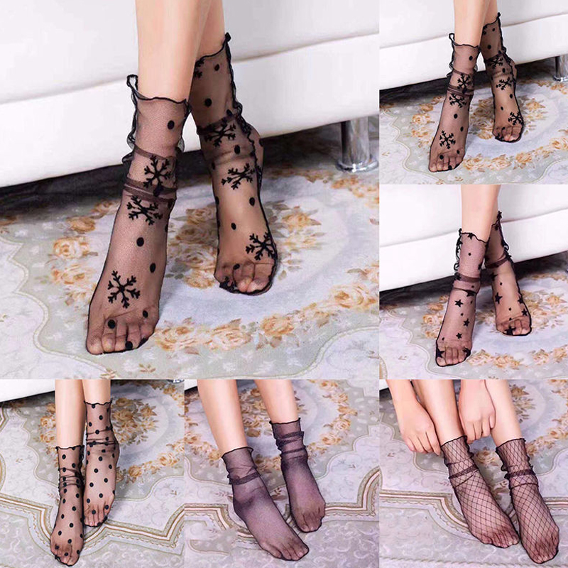 Lace Socks Fishnet Embroidered High Fish Women Net Arrival New Socks Ankle Short Socks Ruffle Sexy Mesh
