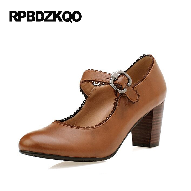 2017 Plus Size Round Toe Pumps Brown Small Wooden Mary Jane Female Strap Elegant 4 34 Block Ladies High Heels Shoes Women Retro japan imported p089a2007 p089a2004 p089a2001 tyco original brand new module szhsx