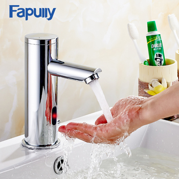Fapully  Basin Faucet Automatic Sensor Faucet Chrome Polished Hand Touch Tap Hot Cold Bathroom Bathroom Sensor Faucet Mixer 111 fapully chrome bathroom basin faucet infrared sense water faucet automatic hands touch free sensor faucet bathroom sink tap page 7
