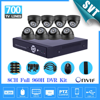 Home 8CH Full 960H D1 Recording CCTV Security DVR System 700TVL Indoor Dome Camera DIY Kit