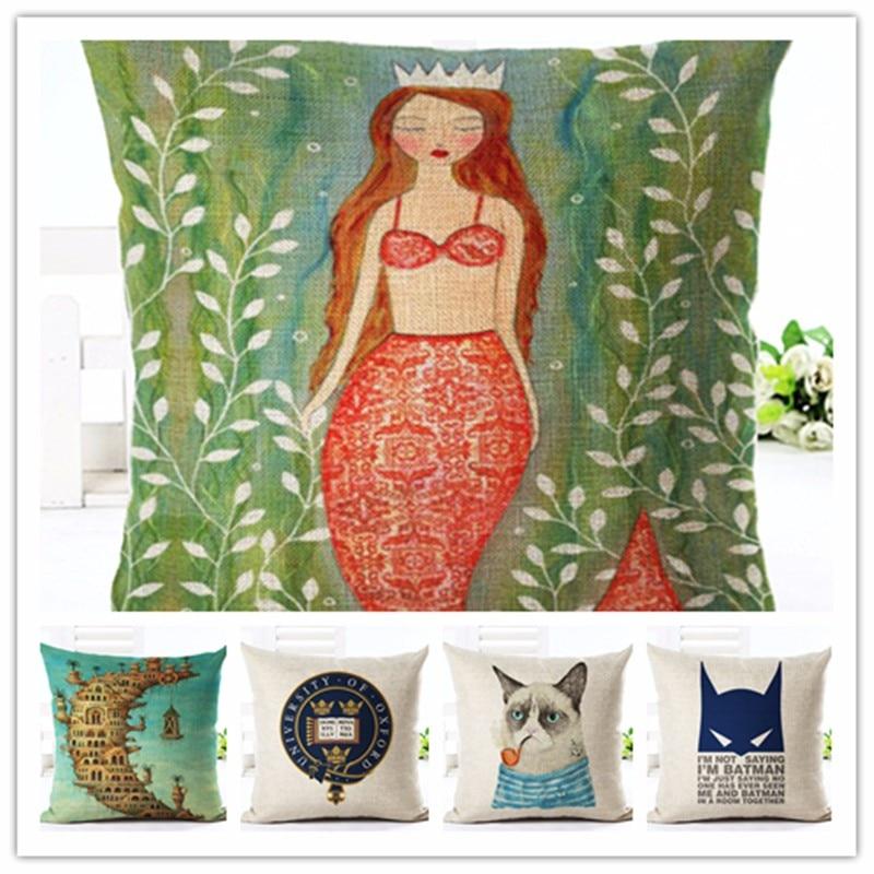 2016 Noordse Stijl De Kleine Zeemeermin Print Kussen Woondecoratie - Thuis textiel