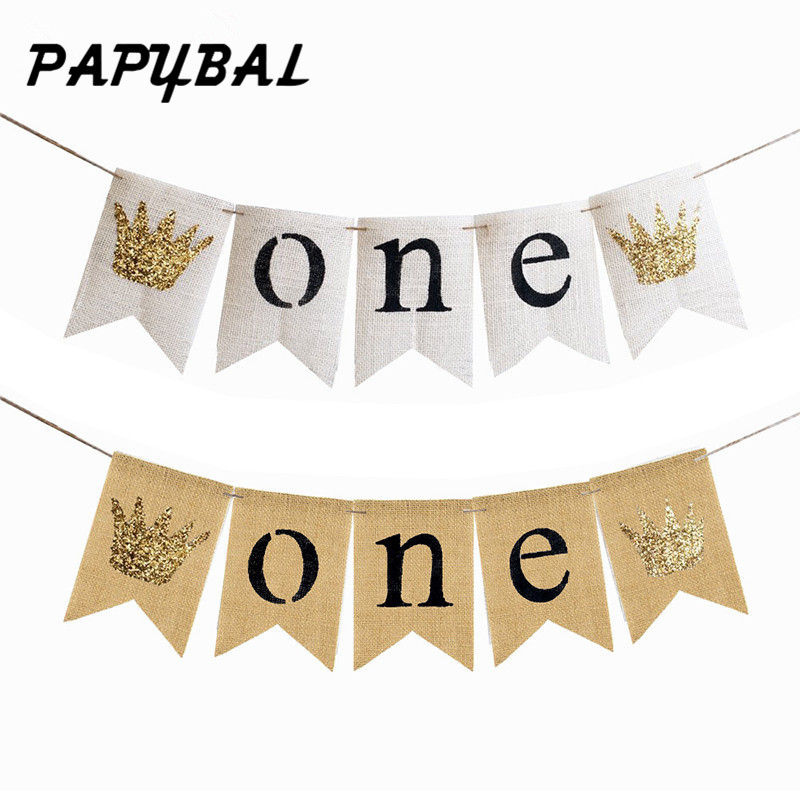 1 Set Hot sale Baby Boy Girl First Birthday Banner ONE Year 1st Birthday Bunting Party Decoration Baby Shower Party Supplies