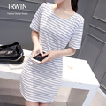 Summer Style 2016 New Women Dress Casual Loose Black White Cotton Striped Dresses Short Sleeve O Neck Mini Vestidos Plus Size