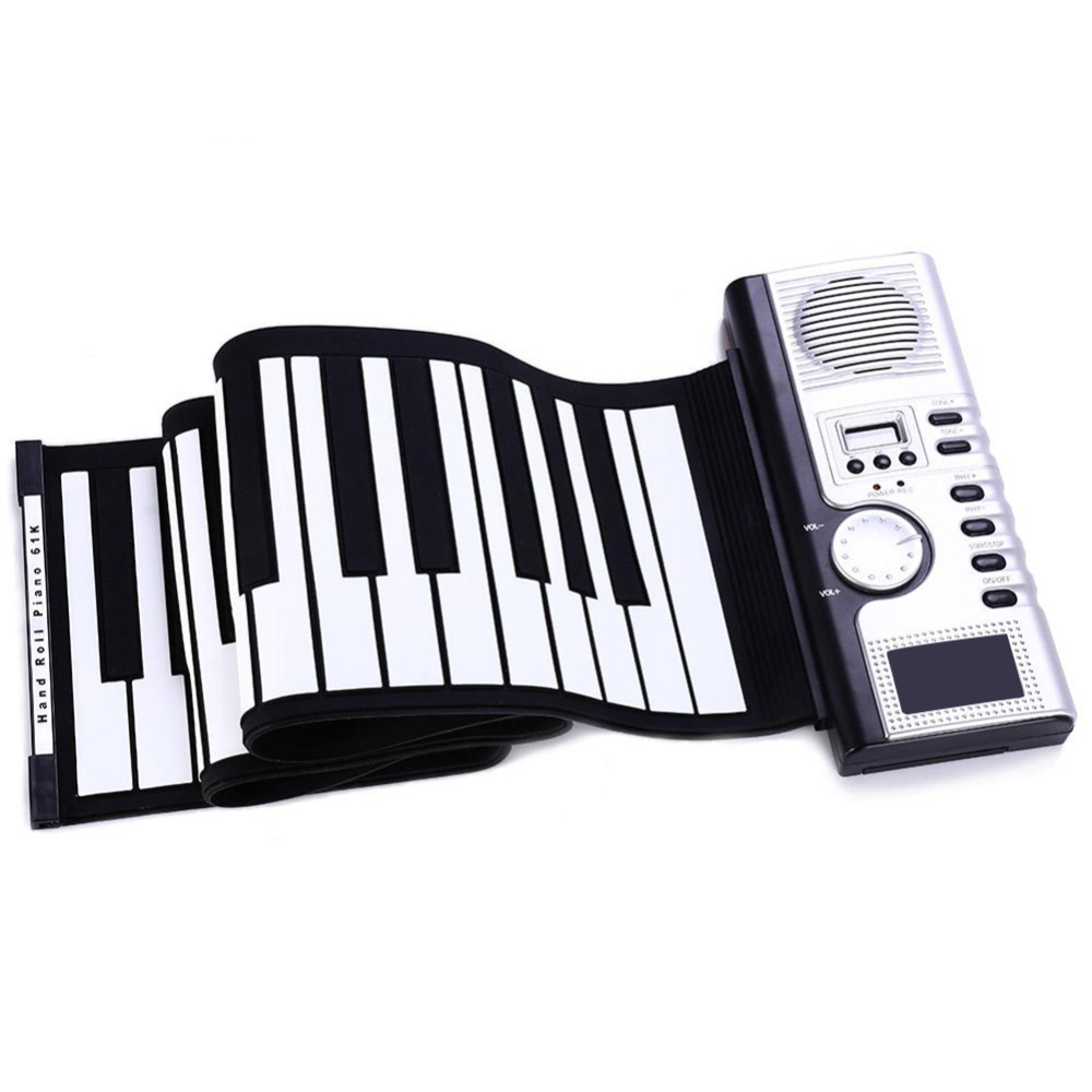 61 Keys Electronic Keyboard Toy Flexible Roll Up Electronic Soft Keyboard Piano Portable 61 Keys Piano for Beginners