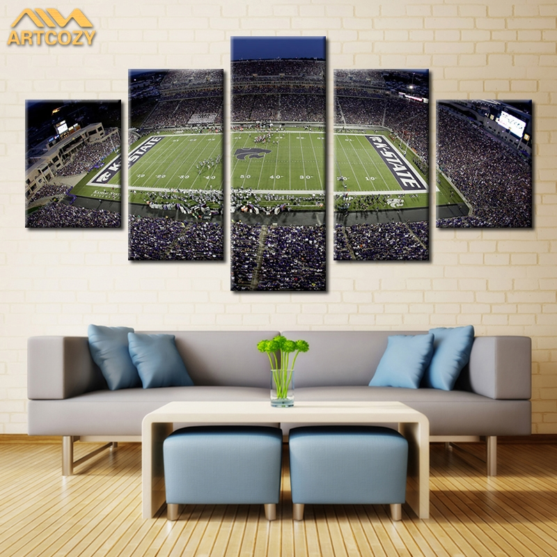 Artcozy 5 Panel Modern USA Green Court Wall Art Painting World Map Canvas Painting for Living Room Home Decor Waterproof