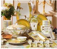 Porcelain Bowl and Cutlery Set Bowl and Plate Household Dining Bone, Porcelain Bowl, Vegetable Plate, Chopsticks, Jingdezhen Cer