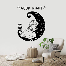 Little Girl and Moon Wall Sticker Good Night Quote Poster Mural Baby Kids Room Decoration Sweet Dream Girls Decor W44