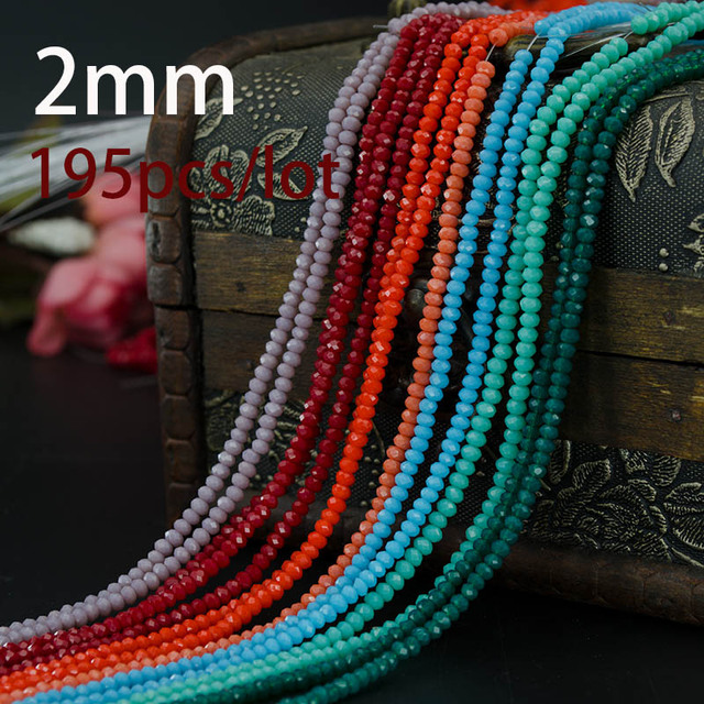 Free shipping multi color 2mm 195PCS Bicone crystal beads Cut Faceted Round Glass Beads,bracelet necklace Jewelry Making DIY