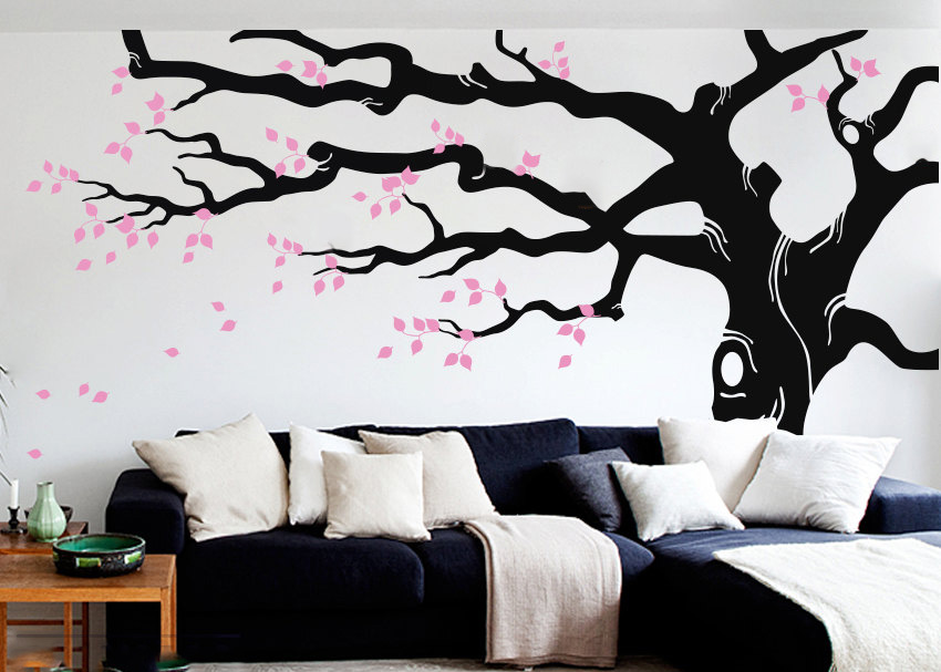 Grand arbre Stickers muraux autocollants pépinière arbre mur autocollant Art vinyle bricolage salon canapé fond grands arbres décoration murale LC590 - 1