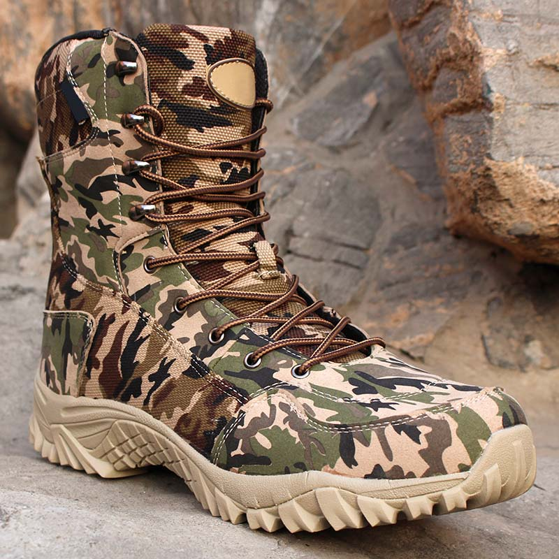 Men Hiking Boots Outdoor Camouflage Ankle Hiking Shoes Men Tactical Shoes Military Boots Camouflage Hunting Boots Men's Sneakers military men s outdoor cow suede leather tactical hiking shoes boots men army camping sports shoes