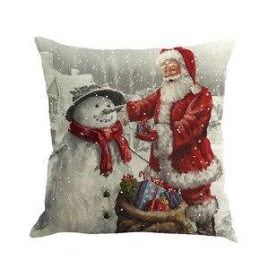 Image 2 - Noël père noël impression teinture taie doreiller multicolore style européen et américain housse de coussin canapé lit décor à la maison