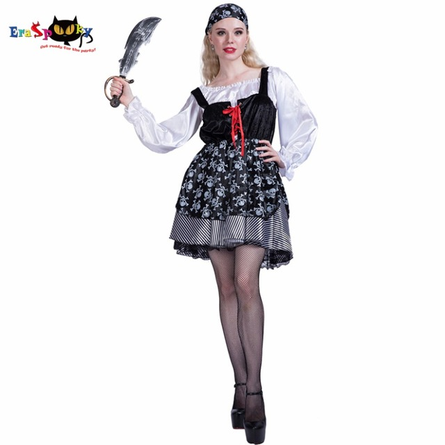 Women Sexy Skull Pirate Girl Costume Cosplay Party Fancy Dress Headpiece  for Female Adult Lady Halloween