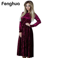 Fenghua Long Sleeve Dress Women 2017 Elegant Autumn Winter Dress Female Casual Pleated Ball Gown Evening