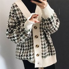 Danjeaner Autumn Winter Lattice Knitted Long Cardigans Loose Casual Preppy Style Thick Swe