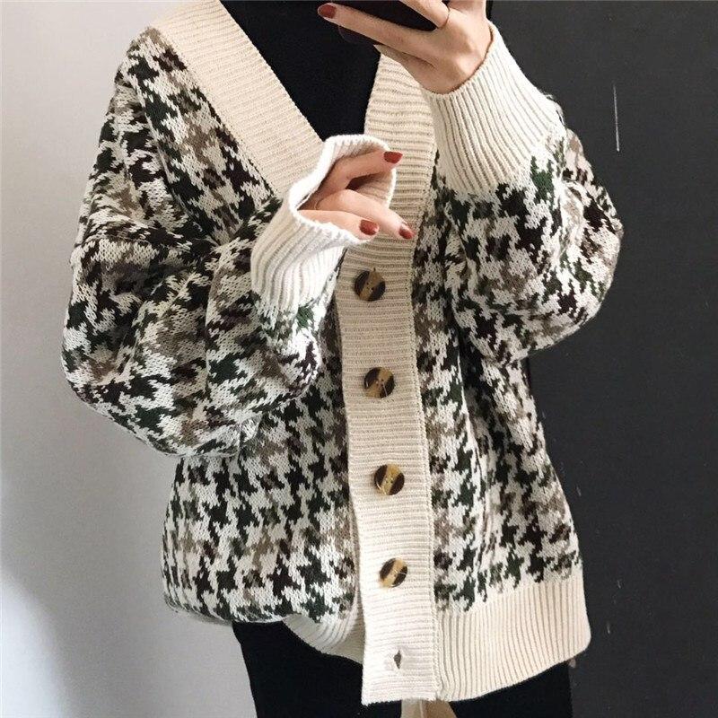 Danjeaner осень зима решетки трикотажные длинные кардиганы Свободные повседневные консервативный стиль толстые свитера джемперы женские вязаные куртки
