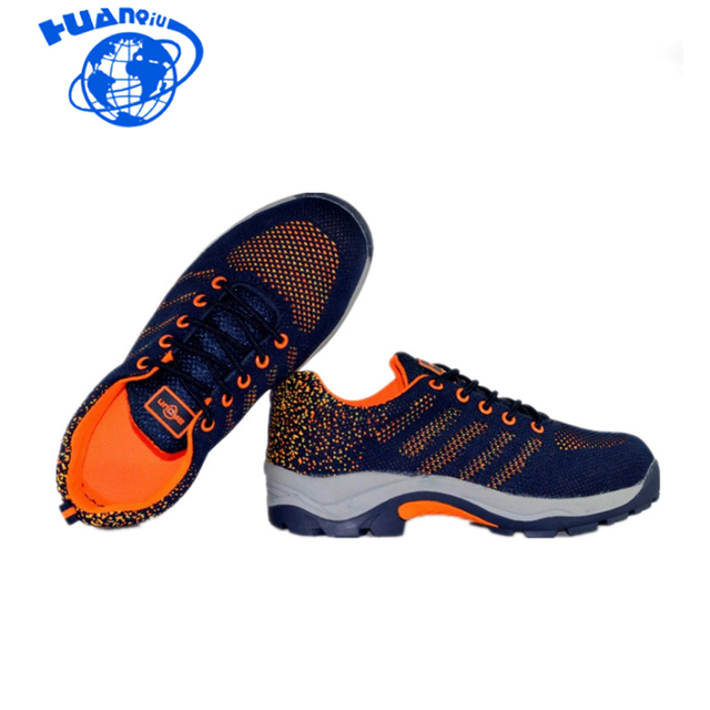 HUANQIU Men Fashion Large Size Breathable Mesh Steel Toe Caps Work Safety Summer Shoes Non-slip Platform Tooling Boots wyq05