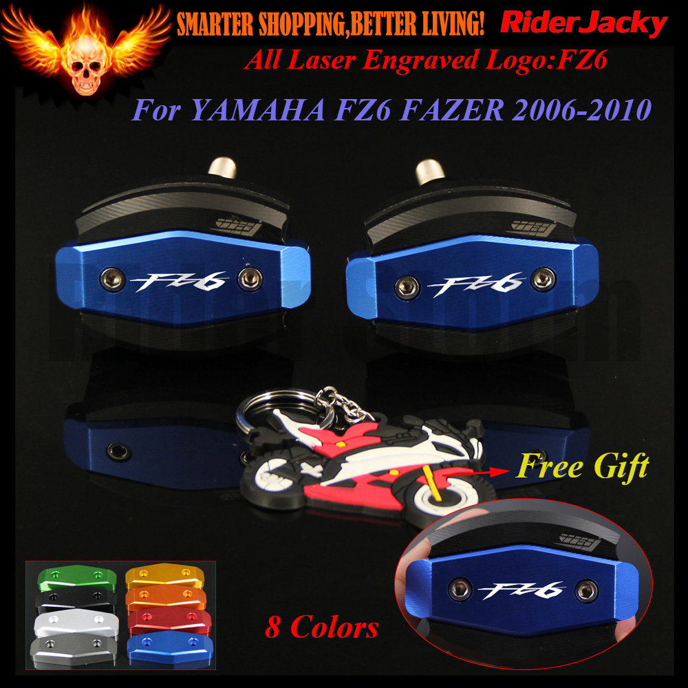 !!!8 Colors Laser Logo FZ6 CNC Blue Motorcycle Frame Slider Anti Crash Protector For YAMAHA FZ6 FAZER 2006-2010 2007 2008 2009 7 8 22mm cnc motorcycle handlebar counterweight grips end for yamaha fz8 2011 fz6 fz6n fz6s fazer 2004 2005 2006 2007 2008 2009