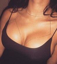 chain necklace bohemian bikini breast bra women trendy collier sautoir long body jewelry
