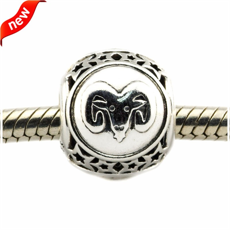 925 Silver Jewelry Beads DIY Fits Pandora Bracelets Charms Aries Star Sign Silver Charm Beads for Jewelry Making Women Gift