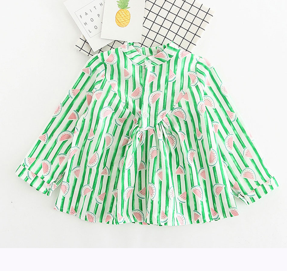 girls dress watermelon pattern striped bouse spring 2017