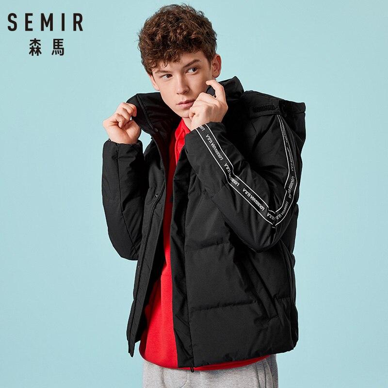 SEMIR Casual Winter Red Parka Jacket Men 2018 Winter Jacket Men Hooded Windbreaker Waterproof Thick Warm Parka   Coat