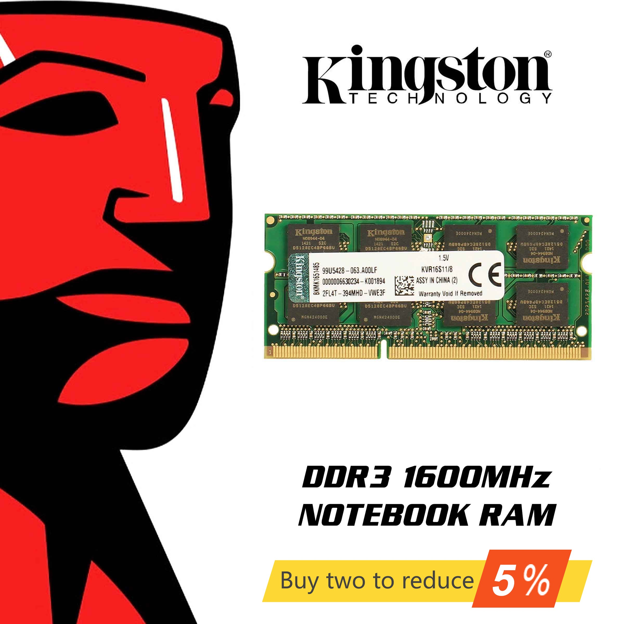Kingston RAMS Laptop memory DDR3 1600MHZ 1.35V 4GB/8GB image