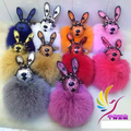 Leather Rabbit Toy Fluffy Fox Fur Ball Pom Pom Keychain Bags Hanger Charms Key Ring For Women Key Chain Porte Clef Fourrure f370