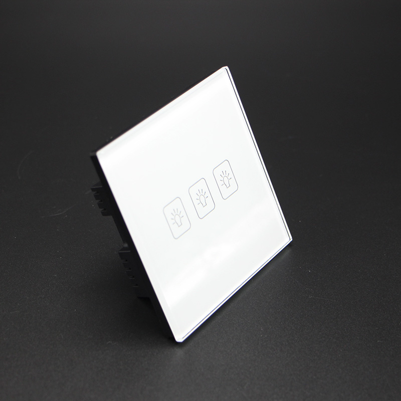 3 Gang 1 Way Wall Touch Switch Led Light Controler Smart Home Automation  UK Standard AC220V/110V smart home us au wall touch switch white crystal glass panel 1 gang 1 way power light wall touch switch used for led waterproof